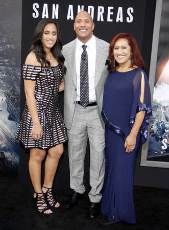 ata: Dwayne Johnson, Ata Johnson and Simone Alexandra Johnson at the Los Angeles premiere of San Andreas held at the TCL Chinese Theater IMAX in Hollywood, USA on May 26, 2015. Editorial