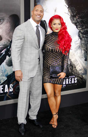 Dwayne Johnson and Eva Marie at the Los Angeles premiere of San Andreas held at the TCL Chinese Theatre IMAX in Hollywood, USA on May 26, 2015. Editorial