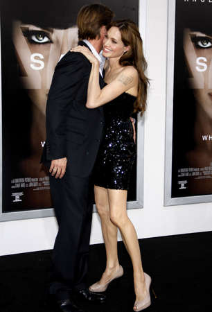 brad pitt: Angelina Jolie and Brad Pitt at the Los Angeles premiere of Salt held at the Graumans Chinese Theater in Hollywood on July 19, 2010.
