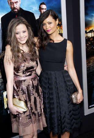 rogue: Thandie Newton and Sarah Jeffrey at the Los Angeles premiere of Rogue held at the ArcLight Theater in Los Angeles, USA on March 26, 2013.