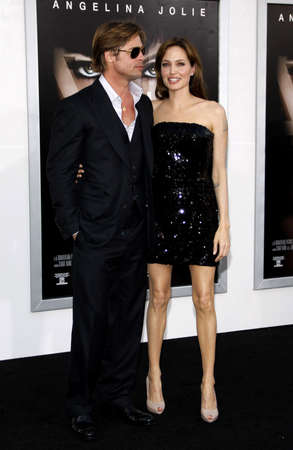 brad pitt: Angelina Jolie and Brad Pitt at the Los Angeles premiere of Salt held at the Graumans Chinese Theatre in Hollywood, USA on July 19, 2010.