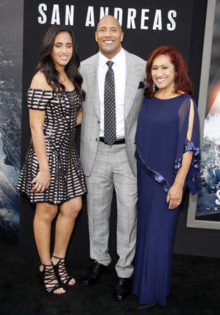 ata: Dwayne Johnson, Ata Johnson and Simone Alexandra Johnson at the Los Angeles premiere of San Andreas held at the TCL Chinese Theatre IMAX in Hollywood, USA on May 26, 2015. Editorial