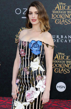 hathaway: Anne Hathaway at the Los Angeles premiere of Alice Through The Looking Glass held at the El Capitan Theater in Hollywood, USA on May 23, 2016.