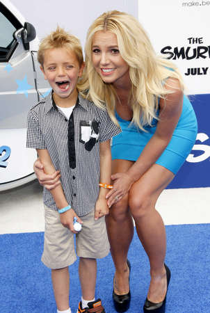 premieres: Sean Federline and Britney Spears at the Los Angeles premiere of Smurfs held at the Regency Village Theater in Westwood on July 28, 2013 in Los Angeles, California.
