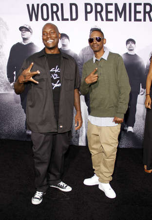 gibson: Tyrese Gibson at the Los Angeles premiere of Straight Outta Compton held at the Microsoft Theater in Los Angeles, USA on August 10, 2015.