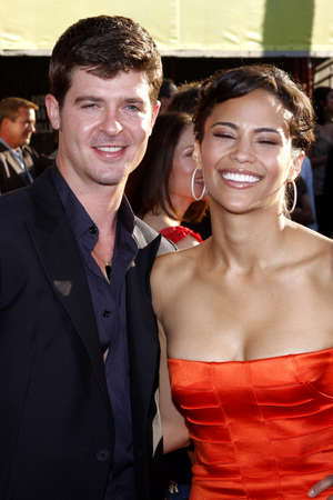 patton: Robin Thicke and Paula Patton at the Los Angeles premiere of Swing Vote held at the El Capitan Theater in Hollywood on July 24, 2008. Editorial