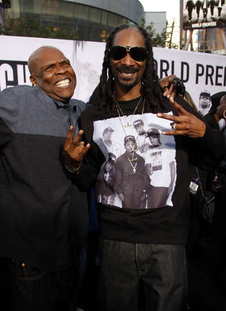 snoop: Snoop Dogg and Big Boi at the Los Angeles premiere of Straight Outta Compton held at the Microsoft Theater in Los Angeles, USA on August 10, 2015.