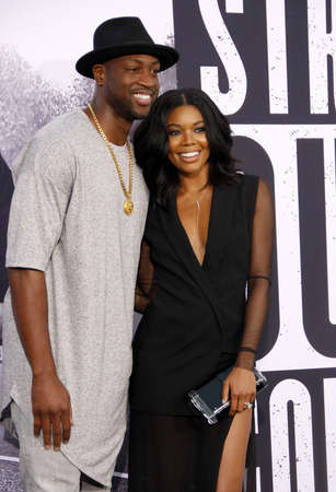 wade: Dwyane Wade and Gabrielle Union at the Los Angeles premiere of Straight Outta Compton held at the Microsoft Theater in Los Angeles, USA on August 10, 2015.