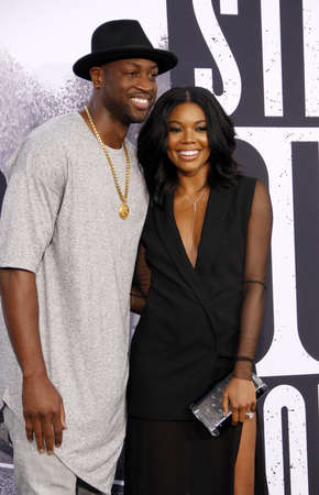 wade: Dwyane Wade and Gabrielle Union at the Los Angeles premiere of 'Straight Outta Compton' held at the Microsoft Theater in Los Angeles, USA on August 10, 2015. Editorial