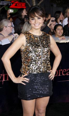 amanecer: Mia Maestro en la premier de Los �ngeles de 'La Saga Crep�sculo: Amanecer Parte 1' celebrada en el Nokia Theatre LA Live en Los Angeles el 14 de noviembre de 2011.