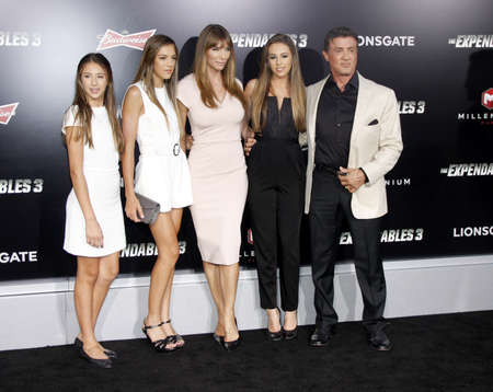 sylvester: Sylvester Stallone and Jennifer Flavin at the Los Angeles premiere of The Expendables 3 held at the TCL Chinese Theatre in Los Angeles, USA on August 11, 2014. Editorial