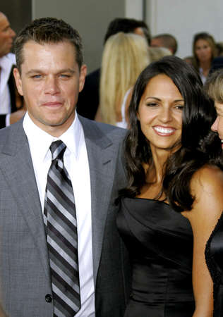 ultimatum: Matt Damon and wife Luciana Damon at the Los Angeles premiere of The Bourne Ultimatum held at the ArcLight Cinemas in Hollywood, USA on July 25, 2007.