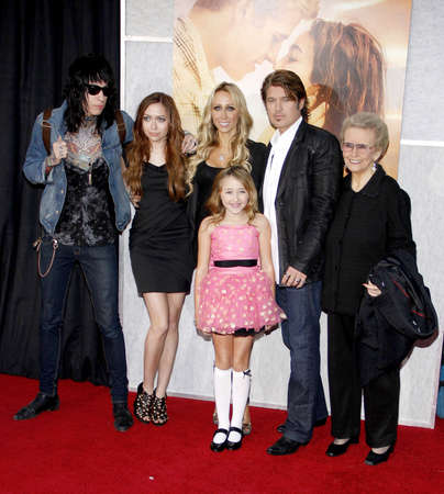 ray trace: Billy Ray Cyrus, Tish Cyrus, Brandi Cyrus and Trace Cyrus at the Los Angeles premiere of 'The Last Song' held at the ArLight Cinemas in Hollywood, USA on March 25, 2010.