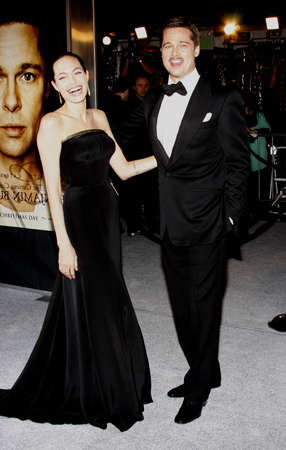 angelina jolie: Brad Pitt and Angelina Jolie at the Los Angeles premiere of The Curious Case Of Benjamin Button held at the Manns Village Theater  in Westwood on December 8, 2008.