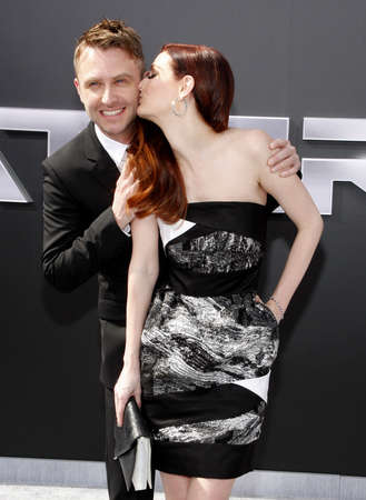 Chris Hardwick and Lydia Hearst at the Los Angeles premiere of Terminator Genisys held at the Dolby Theatre in Hollywood, USA on June 28, 2015.