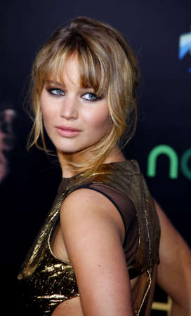 Jennifer Lawrence at the Los Angeles premiere of The Hunger Games held at the Nokia Theatre L.A. Live in Los Angeles on March 12, 2012.
