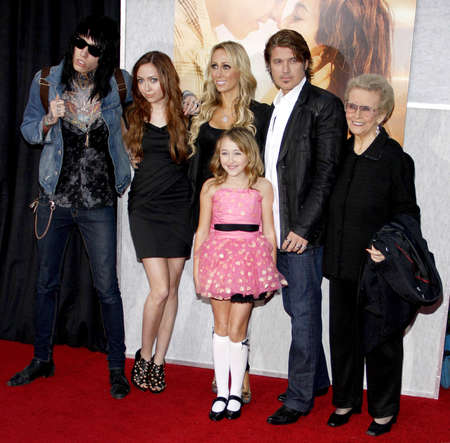 cyrus: Billy Ray Cyrus, Tish Cyrus, Brandi Cyrus and Trace Cyrus at the Los Angeles premiere of The Last Song held at the ArLight Cinemas in Hollywood, USA on March 25, 2010. Editorial