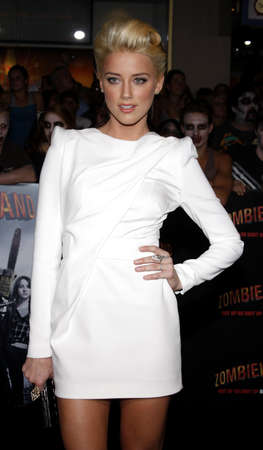 Amber Heard at the Los Angeles premiere of 'Zombieland' held at the Graman's Chinese Theater in Los Angeles on September 23, 2009.