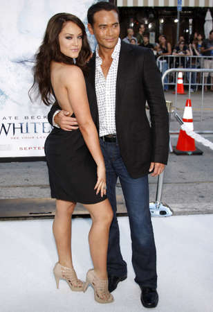lacey: Lacey Schwimmer and Mark Dacascos at the Los Angeles premiere of Whiteout held at the Mann Village Theatre in Westwood on September 9, 2009.