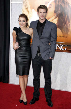 cyrus: Miley Cyrus and Liam Hemsworth at the Los Angeles premiere of 'The Last Song' held at the ArcLight Cinemas in Hollywood, USA on March 25, 2010.