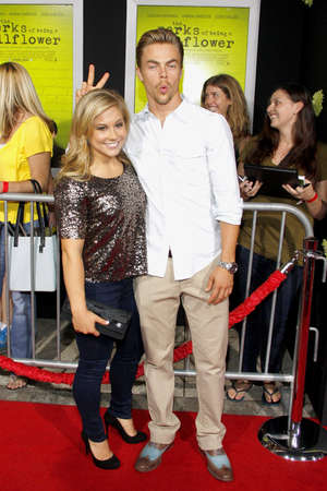 perks: Derek Hough and Shawn Johnson at the Los Angeles premiere of The Perks Of Being A Wallflower held at the ArcLight Cinemas in Hollywood on September 10, 2012.