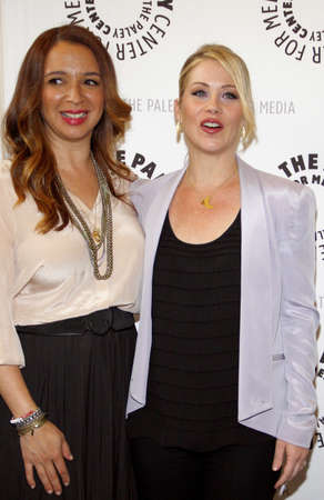 media center: Christina Applegate and Maya Rudolph at the Paley Center For Media Presents An Evening With Up All Night held at the Paley Center for Media in Beverly Hills on May 8, 2012.