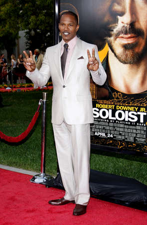 soloist: Jamie Foxx at the Los Angeles premiere of The Soloist held at the Paramount Studios Theatre in Hollywood on April 20, 2009.