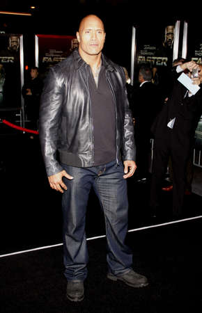 Dwayne Johnson at the Los Angeles premiere of 'Faster