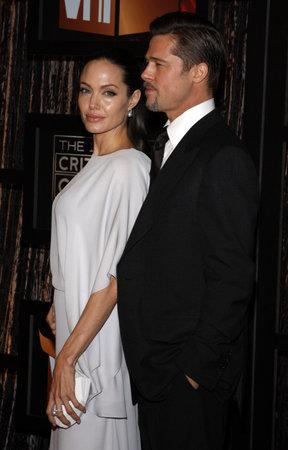 Angelina Jolie and Brad Pitt at the VH1s 14th Annual Critics Choice Awards held at the Santa Monica Civic Auditorium in Santa Monica, USA on January 8, 2009.