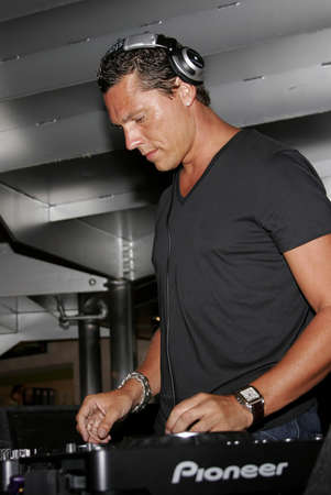 spins: DJ Tiesto spins his dj set and meets his fans at the Virgin Megastore on Sunset Strip in West Hollywood, USA on August 10, 2007.