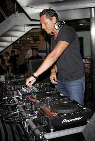 spins: DJ Tiësto, the worlds number 1 trance Deejay spins his set and meets his fans held at the Virgin Megastore in West Hollywood, USA on  August 10, 2007.