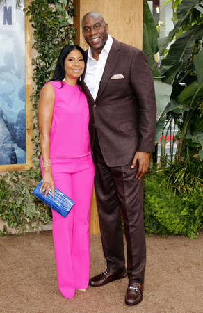 tarzan: Earlitha Kelly and Magic Johnson at the Los Angeles premiere of The Legend Of Tarzan held at the Dolby Theatre in Hollywood, USA on June 27, 2016. Editorial