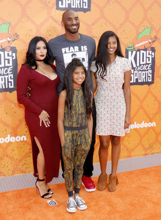 diamante: Kobe Bryant, Vanessa Bryant, Gianna Maria Onore Bryant and Natalia Diamante Bryant at the Nickelodeon Kids Choice Sports Awards 2016 held at the UCLAs Pauley Pavilion in Westwood, USA on July 14, 2016.