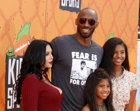 Kobe Bryant, Vanessa Bryant, Gianna Maria Onore Bryant and Natalia Diamante Bryant at the Nickelodeon Kids' Choice Sports Awards 2016 held at the UCLA's Pauley Pavilion in Westwood, USA on July 14, 2016.
