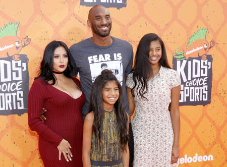 diamante: Kobe Bryant, Vanessa Bryant, Gianna Maria Onore Bryant and Natalia Diamante Bryant at the Nickelodeon Kids' Choice Sports Awards 2016 held at the UCLA's Pauley Pavilion in Westwood, USA on July 14, 2016.