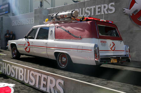 premiere: Ecto-1 at the World premiere of Ghostbusters held at the TCL Chinese Theatre in Hollywood, USA on July 9, 2016.