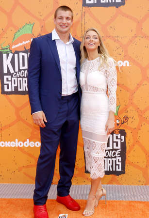 rob: Rob Gronkowski and Camille Kostek at the Nickelodeon Kids Choice Sports Awards 2016 held at the UCLAs Pauley Pavilion in Westwood, USA on July 14, 2016. Editorial