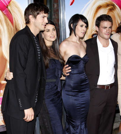 willis: Ashton Kutcher, Demi Moore, Micah Alberti and Rumer Willis at the Los Angeles premiere of The House Bunny held at the Mann Village Theater in Westwood, USA on August 20, 2008.