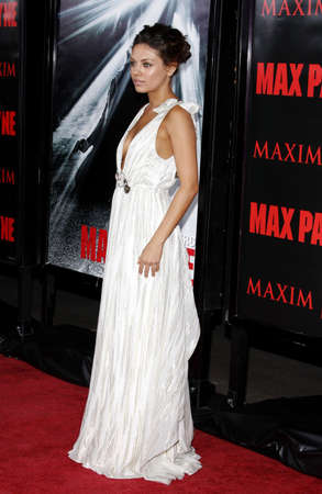 Mila Kunis at the Los Angeles premiere of Max Payne held at the Graumans Chinese Theater in Hollywood, USA on October 13, 2008.