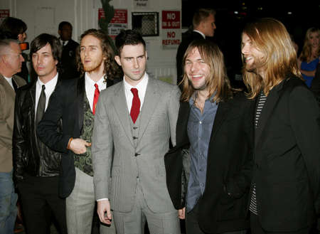 Adam Levine and Maroon 5 at the Global Green USA Pre-Oscar Celebration to Benefit Global Warming held at the Avalon in Hollywood, USA on February 21, 2007. 免版税图像 - 83839474