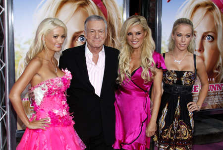 hugh: Hugh Hefner, Holly Madison, Kendra Wilkinson and Bridget Marquardt at the Los Angeles premiere of The House Bunny held at the Mann Village Theater in Westwood, USA on August 20, 2008.