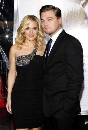 Kate Winslet and Leonardo DiCaprio at the Los Angeles premiere of 'Revolutionary Road' held at the Mann Village Theater in Westwood, USA on December 15, 2008. Stock Photo - 111246128