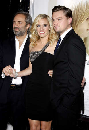 Sam Mendes, Kate Winslet and Leonardo DiCaprio at the Los Angeles premiere of Revolutionary Road held at the Mann Village Theater in Westwood, USA on December 15, 2008.