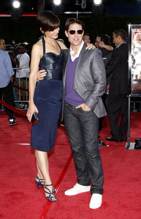 Katie Holmes and Tom Cruise at the Los Angeles premiere of 'Tropic Thunder' held at the Mann Village Theater in Westwood, USA on August 11, 2008. Editorial