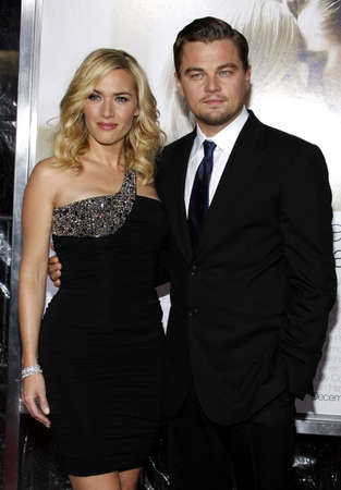 Kate Winslet and Leonardo DiCaprio at the Los Angeles premiere of 'Revolutionary Road' held at the Mann Village Theater in Westwood, USA on December 15, 2008. Stock Photo - 111246180
