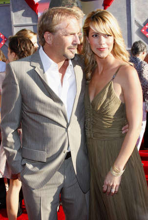 Kevin Costner and Christine Baumgartner at the World premiere of Swing Vote held at the El Capitan Theater in Hollywood, California, United States on July 24, 2008.