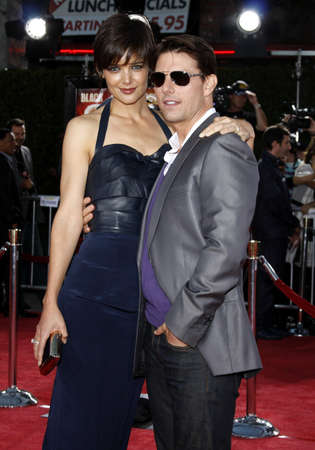 Tom Cruise and Katie Holmes at the Los Angeles premiere of 'Tropic Thunder' held at the Mann Village Theater in Westwood, USA on August 11, 2008. Editorial