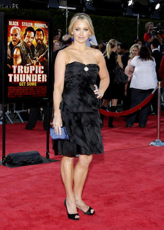Christine Taylor at the Los Angeles premiere of Tropic Thunder held at the Mann Village Theater in Westwood, USA on August 11, 2008.