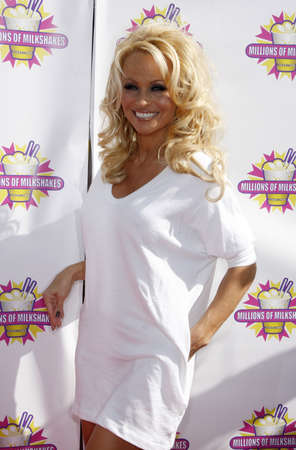 Pamela Anderson and PETA create the First ALL-VEGAN Shake at Celebrity Hotspot Millions of Milkshakes held at the Millions of Milkshakes in West Hollywood, USA on April 9, 2010.