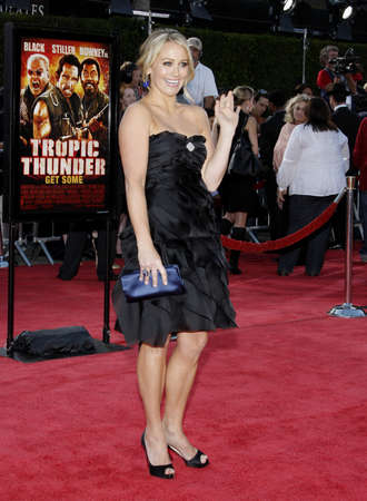 Christine Taylor at the Los Angeles premiere of Tropic Thunder held at the Mann Village Theater in Westwood, California, United States on August 11, 2008.